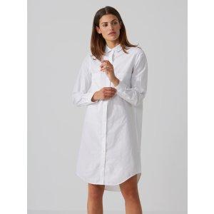 Round-Hem Shirtdress in Bright White