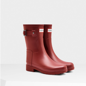 Womens Red Refined Short Rain Boots | Official US Hunter Boots Store