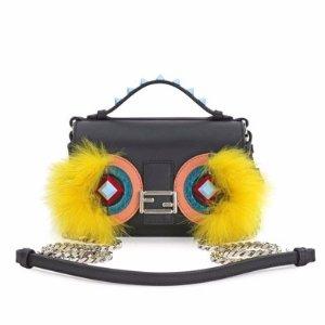 Fendi Baguette Micro Double-Sided Monster Crossbody Bag, Black/Yellow
