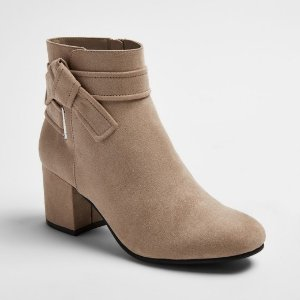 Women's Mary Tie Heeled Booties - A New Day™ Gray