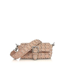 RED Valentino Nude Genuine Leather Studded Shoulder Bag at FORZIERI