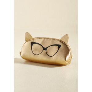 I Can See Ear-ly Now Pouch in Gold | ModCloth