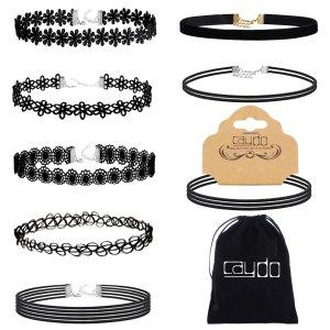 Amazon.com: Caydo 8 Pieces Black Choker Necklace Lace Choker Tattoo Necklace for Women Girls