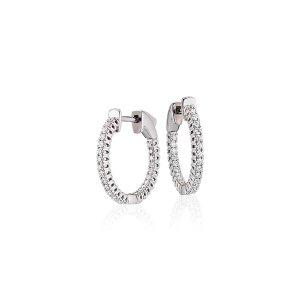 Diamond Hoop Earrings in 18k White Gold - F / VS2 (1/2 ct. tw.) | Blue Nile