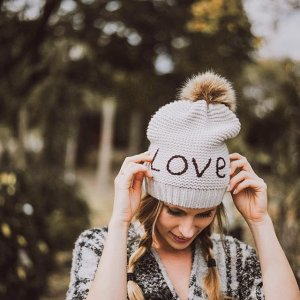 Hat Attack Love Beanie With Faux Fur Pom
