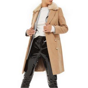 Nina Faux Fur Collar Double Breasted Coat