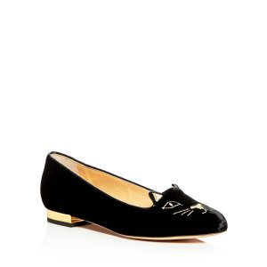 Charlotte Olympia Kitty Embroidered Velvet Flats | Bloomingdale's