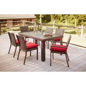 Hampton Bay Beverly 7-Piece Patio Dining Set with Cardinal Cushion-65-23377 - The Home Depot
