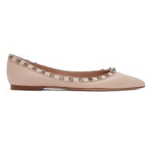 Valentino: Pink Rockstud Ballerina Flats |