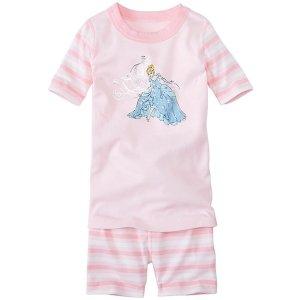 Kids Disney Princess Sparkle Short John Pajamas In Organic Cotton | Girls Short Johns