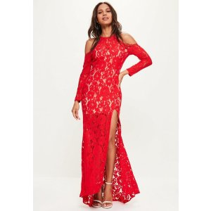 Red Lace Cold Shoulder Maxi Dress