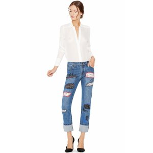 Hanna Distressed Patchwork Jean | From Alice + Olivia