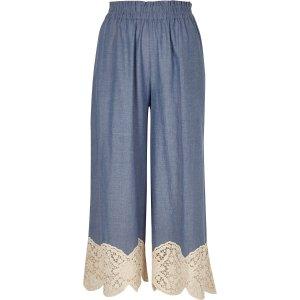 Light blue lace hem culottes - culottes - pants - women