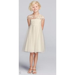 VALUE Mesh Flower Girl Dress with Illusion Neckline