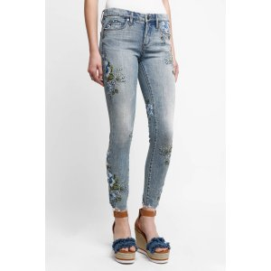 Blank Floral Embroidered Skinny Jeans