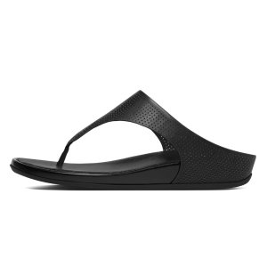 FitFlop Banda Perf Leather Toe-Thong Sandals All Black FitFlop Official Online Store