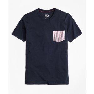 Seersucker-Pocket Cotton T-Shirt - Brooks Brothers