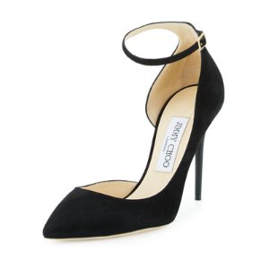 100mm Lucy Suede Ankle Strap