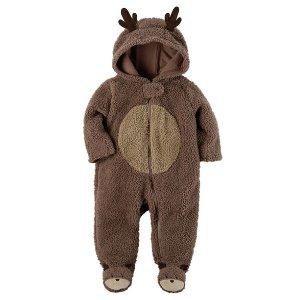 Hooded Sherpa Reindeer Jumpsuit