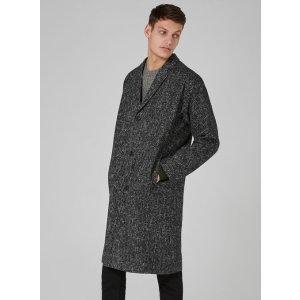 Black And White Textured Oversized Overcoat - Coats & Jackets - Clothing