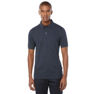Short Sleeve Dot Pattern Polo - Perry Ellis