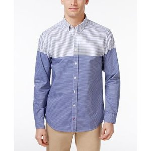 Tommy Hilfiger Men's Striped Colorblocked Long-Sleeve Shirt - Casual Button-Down Shirts - Men - Macy's