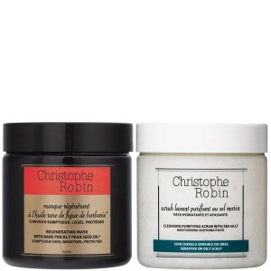 Christophe Robin Cleansing Purifying Sea Salt Scrub (250ml) and Regenerating Mask with Rare Prickly Pear Seed Oil (250ml) | Reviews | SkinStore