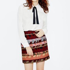 JAKARTO Straight-fit jacquard mini skirt - Skirts & Shorts - Maje.com