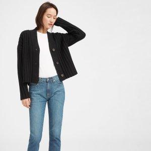 The Wool-Cashmere Rib V-Neck Cardigan
