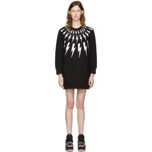 Neil Barrett: Black Thunderbolt Fairisle Dress