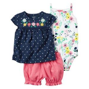 Baby Girl 3-Piece Bubble Short Set | Carters.com