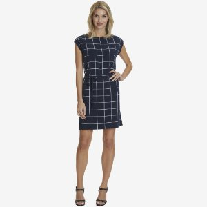 Grid Print Side-Tie Dress - Sky Blue Wash | Nautica