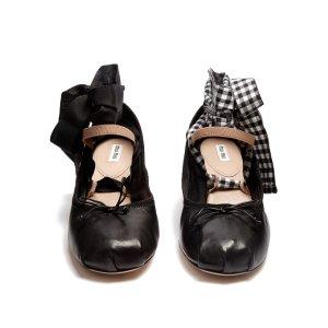 Block-heel leather ballet pumps | Miu Miu