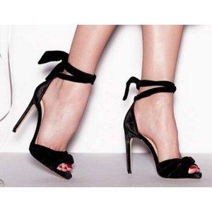 Alexandre Birman Ruched Velvet Ankle-Tie Sandal, Black