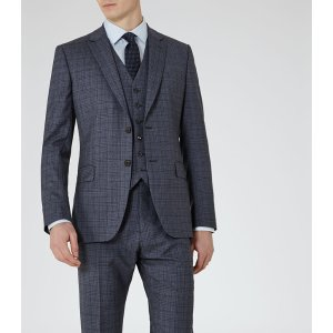 Crow Blue Modern-Fit Check Suit - REISS