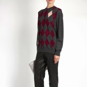 Alexander Wang Argyle Intarsia-Knit Sweater