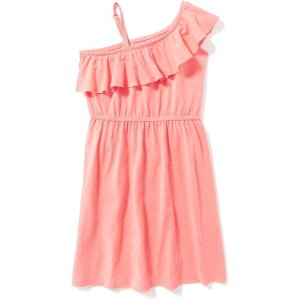 One-Shoulder Cinched-Waist Dress for Girls