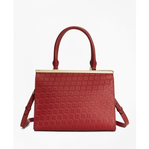 Women's Red Woven Leather Satchel | Brooks Brothers