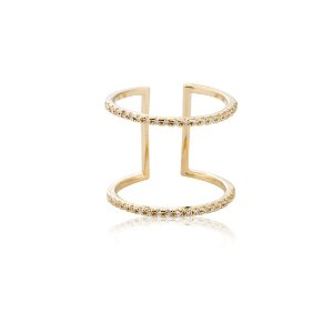 Gold Double Bar Cocktail Ring