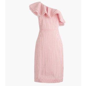 Tall one-shoulder ruffle dress in seersucker