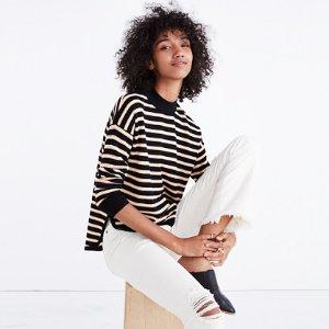 Mockneck Boxy Pullover Sweater in Stripe