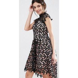 Chi Chi Petite | Chi Chi London Petite Cutwork Lace Prom Dress With High Low Hem