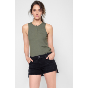 Ribbed Henley Tank in Olive - 7FORALLMANKIND
