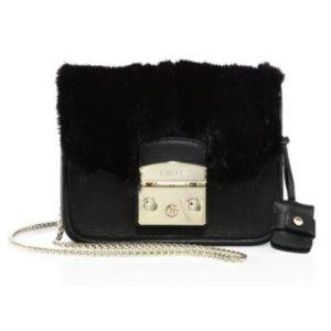 Furla Metropolis Megamix Mini Leather & Mink Fur Crossbody Bag