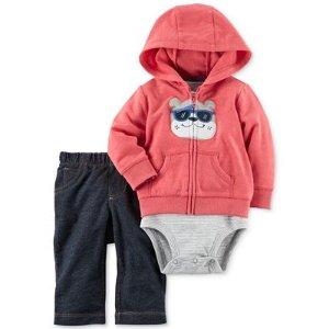 Carter's 3-Pc. Bulldog Hoodie, Bodysuit & Jeans Set, Baby Boys (0-24 months) - Sale & Clearance - Kids & Baby - Macy's