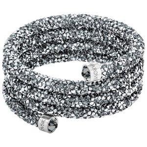 Crystaldust Wide Bangle, Gray - Jewelry - Swarovski Online Shop