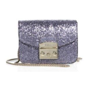 Furla Metropolis Mini Glitter Leather Crossbody Bag