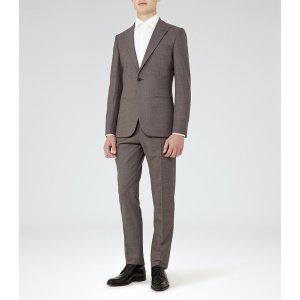 Venables Mocha Wool Peak Lapel Suit - REISS