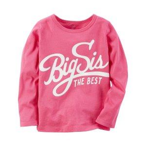 Kid Girl Long-Sleeve Big Sis Graphic Tee | Carters.com