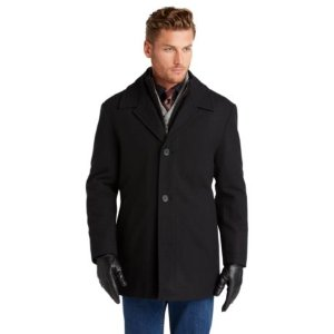 Executive Collection Traditional Fit Storm Collar Car Coat CLEARANCE